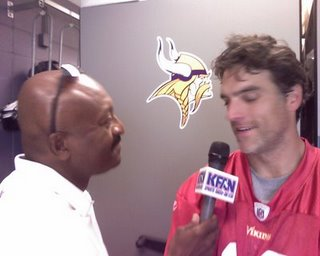 Greg Coleman shown interviewing a great community guy, Gus Frerotte.